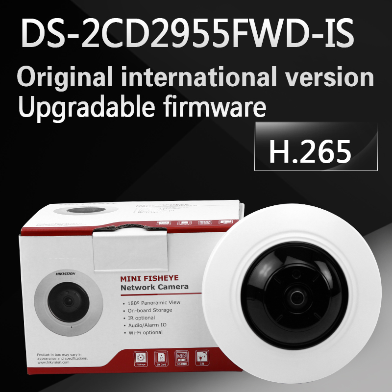 Free shipping English version DS-2CD2955FWD-IS 5MP Network Fisheye Camera H.265 camera in stock international english version ds 2cd2942f is english version 4mp compact fisheye network cctv camera fisheye