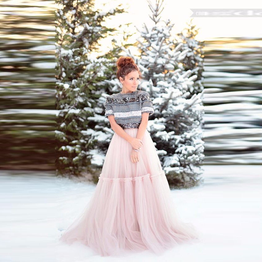 46 Top Design Long Pink Tulle Skirt A Line Floor Length Maxi Skirt Puffy Personalized Adults Women Skirts