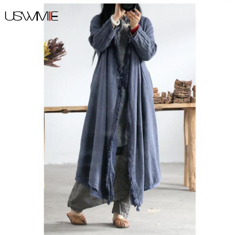 2019   Trench   Coat Women Literature Simple Solid Color Long Sleeve Long Section Comfort Oblique Button Linen Windbreaker USWMIE