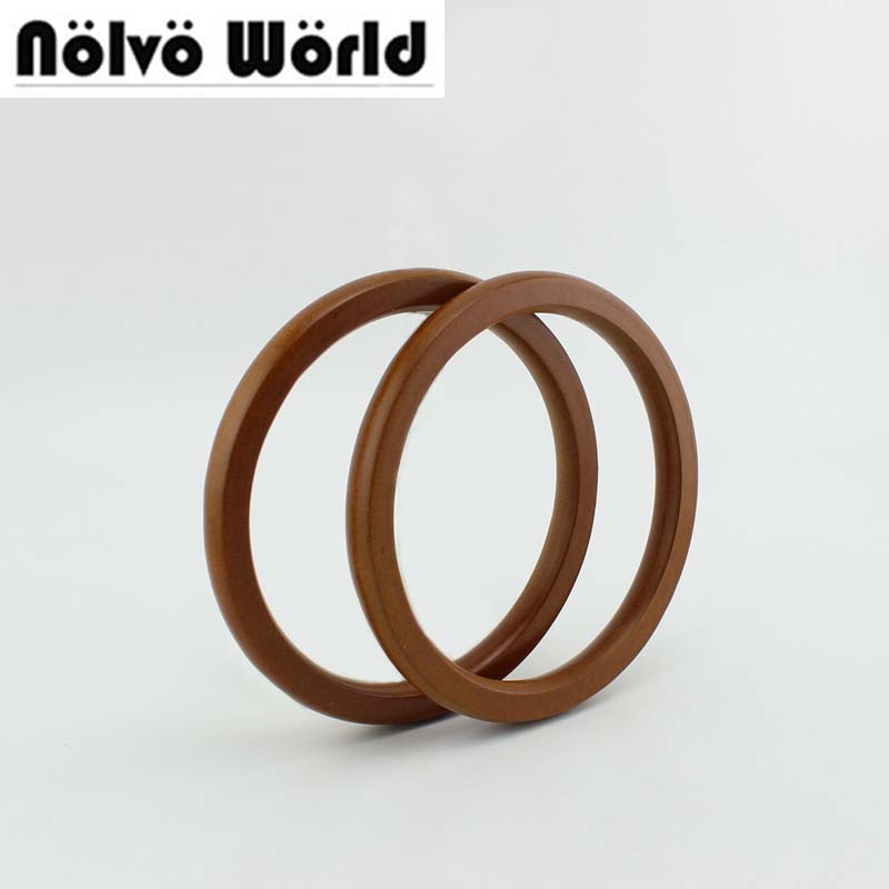 15 Pairs=30 Pieces,14cm POP Camel Plywood Round Handle,Quilting Bags Circle Ring Wood Tabular Edge Handles