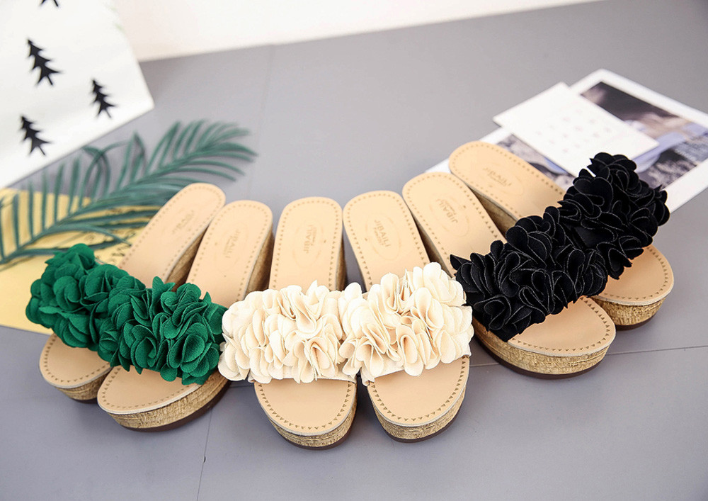 2018 Summer Fl Platform Waterproof Women Sandals Wedge Slippers Shoes Indoor Bedroom Beach Flat