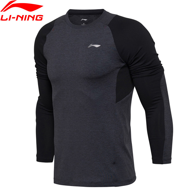Li-Ning Men Training Series T-Shirt Long Sleeve Tight Fit 86% Polyester 14% Spandex LiNing Sports Tee T-Shirts ATLM081 MTL976 stylish lapel hidden solid color long sleeve polyester shirt for men