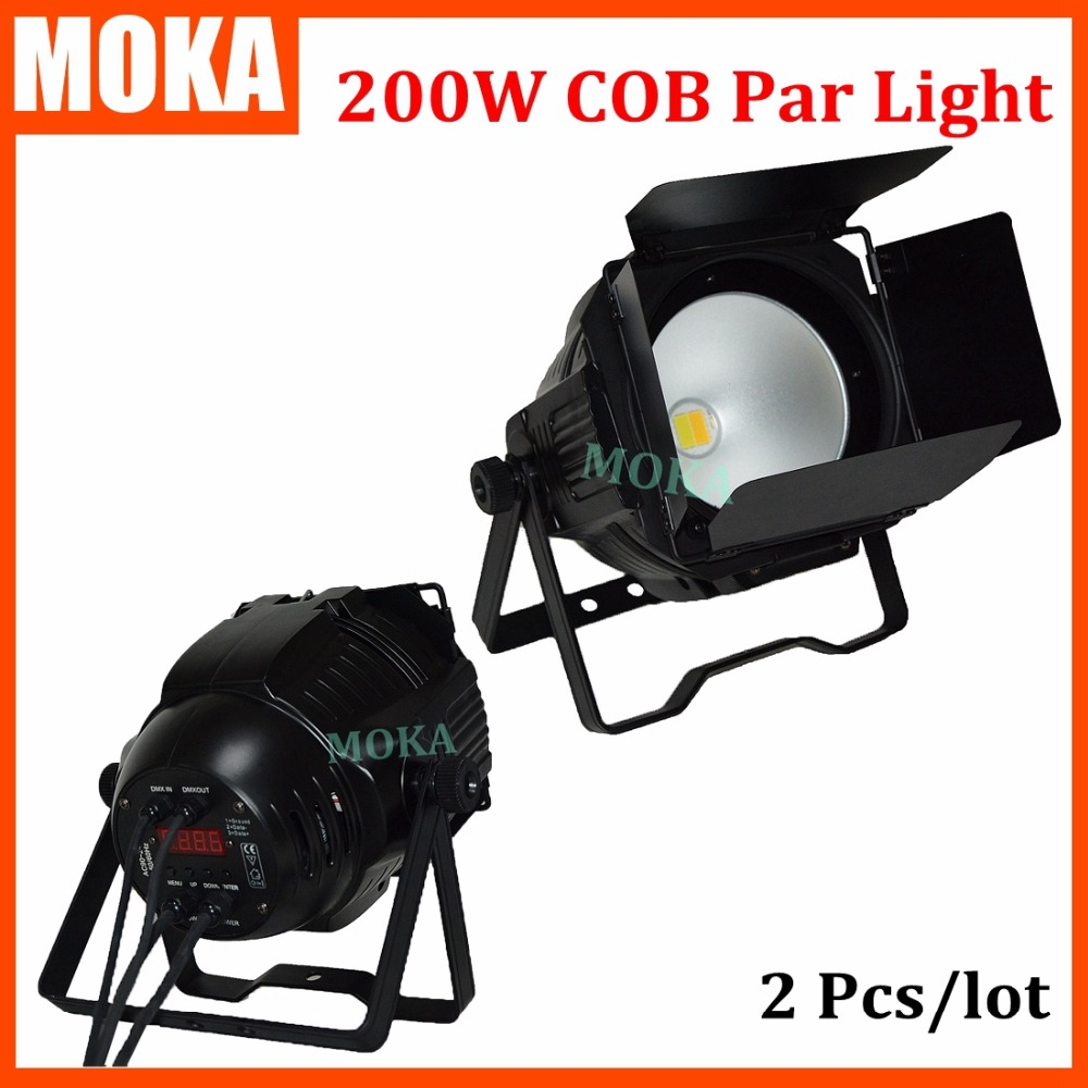 2 pcs/lot High quality 200W Warm White/Cool White Par Can led par light dmx cob par light led Surface light for stage background show plaza light stage blinder auditoria light ww plus cw 2in1 cob lamp 200w spliced type for stage