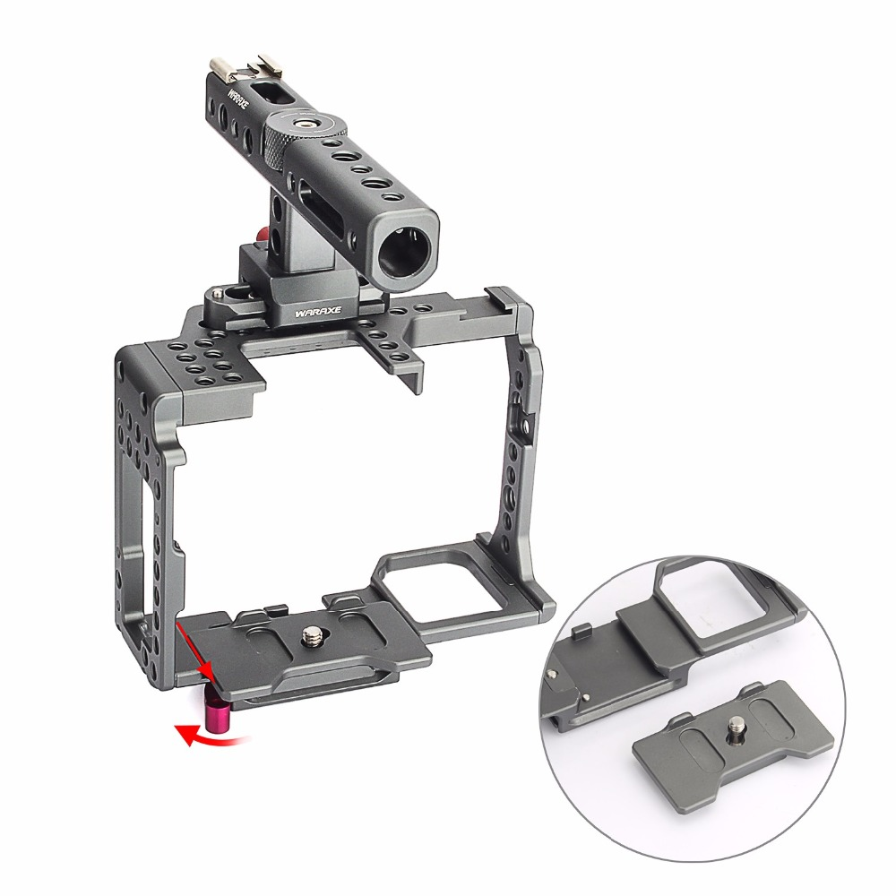 productimage-picture-waraxe-a7-kit-camera-cage-built-in-quick-release-fits-arca-swiss-for-sony-a7-a7r-a7s-a7-ii-a7r-ii-a7s-ii-with-nato-rail-handle-grip-and-1-4-98420