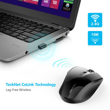 TeckNet Alpha Ergonomic 2.4G Wireless Optical Mobile Mouse with USB Nano Receiver for Laptop PC Computer 6 Buttons