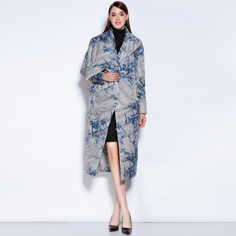 New Fashion Print Flower   Down   Jacket Women White Goose   Down     Coat   Winter Irregular Chinese Style   Down   Parkas Outwear YP2155