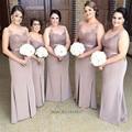 Plus Size Brown Bridesmaid Dresses Long Sheath Lace Wedding Guest Dress Split Party Gowns Vestido de Madrinha de Casamento Longo