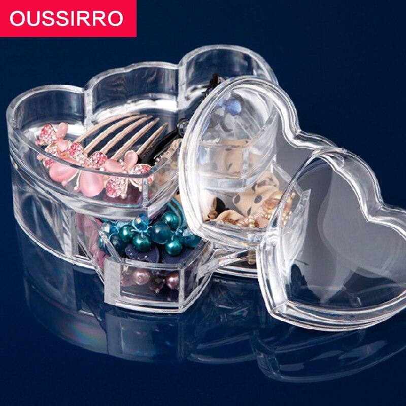 Двухслойная акриловые составляют организатор коробка для хранения прозрачный Пластик Косметический коробка для хранения организаторы