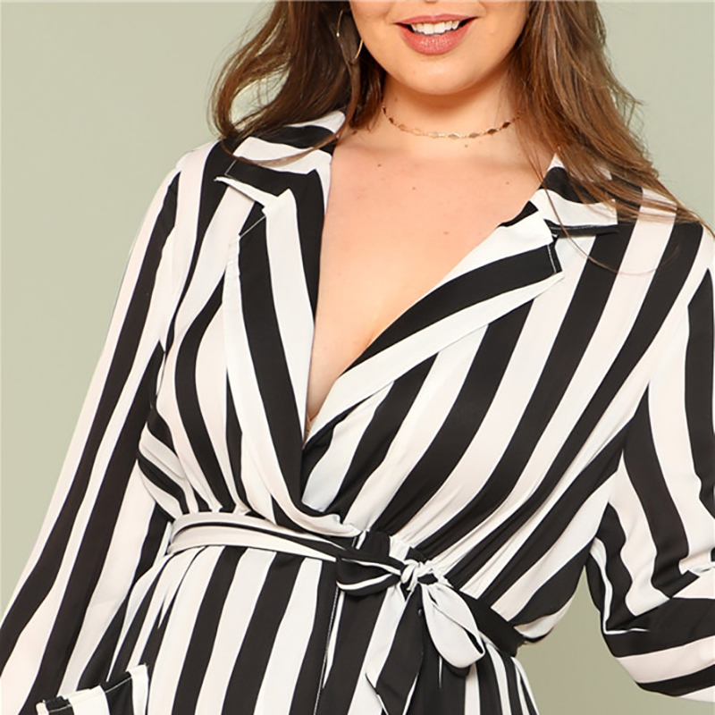cf10b501be6 SHEIN Black And White Stripe V Neck Belted Plus Size Maxi Dress ...