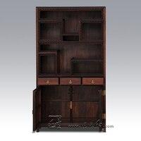 Redwood мебель полки дисплея Кабинет Китайский Античная антикварный палисандр Whatnot Гостиная офисные Сарк книжный шкаф стойки дерево