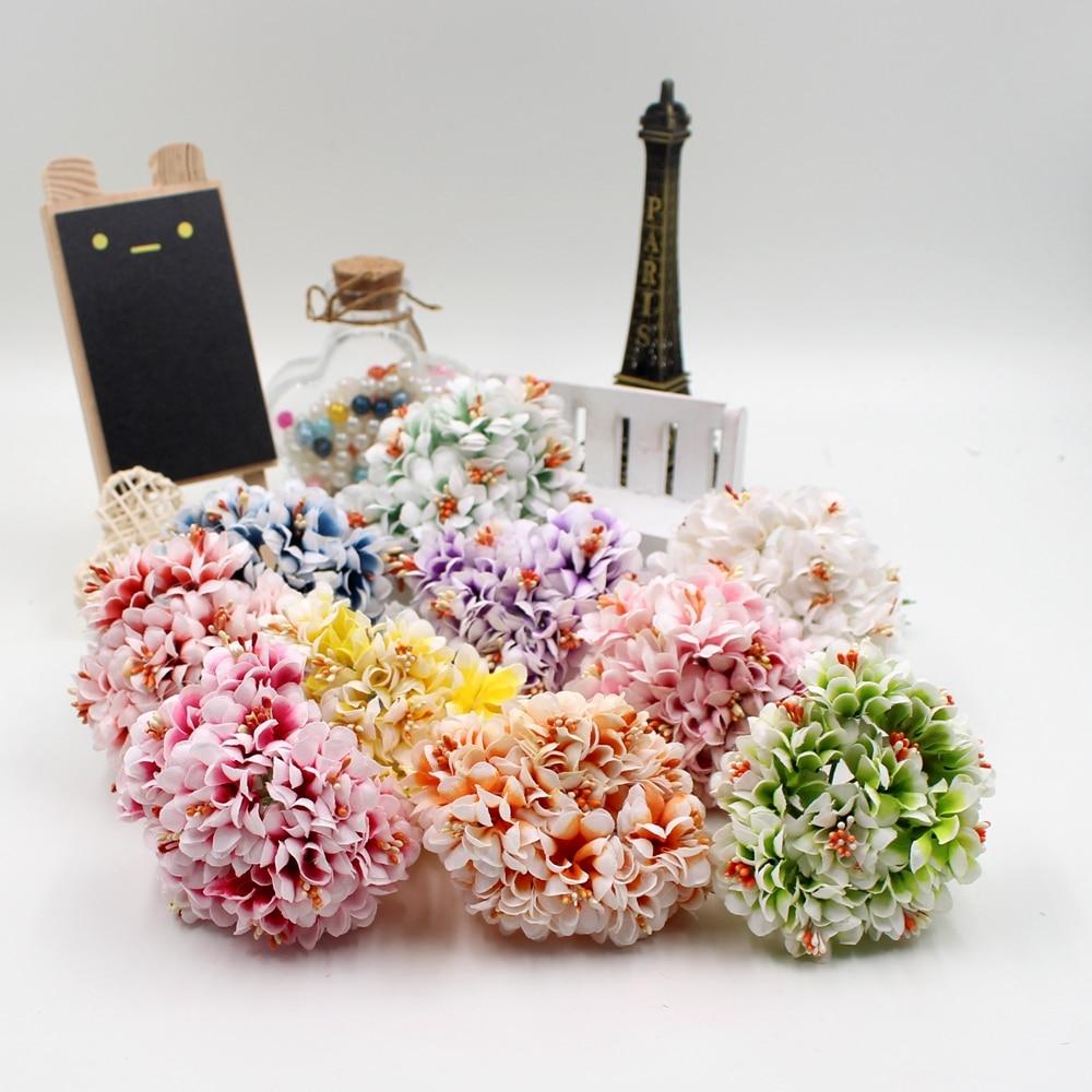 См 6 шт./лот 3,5 см искусственные цветы шелк градиент тычинки для сада свадебные корсаж автомобиля украшения дома букет невесты