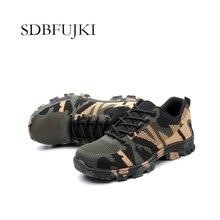 Bouw mannen Outdoor Plus Size Stalen Neus Werkschoenen Schoenen Mannen Camouflage Punctie Proof Veiligheidsschoenen Ademend