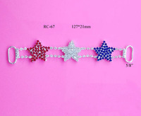 Free shipping July 4th red/white/blue star rhinestone connector 10PCS(RC-67)