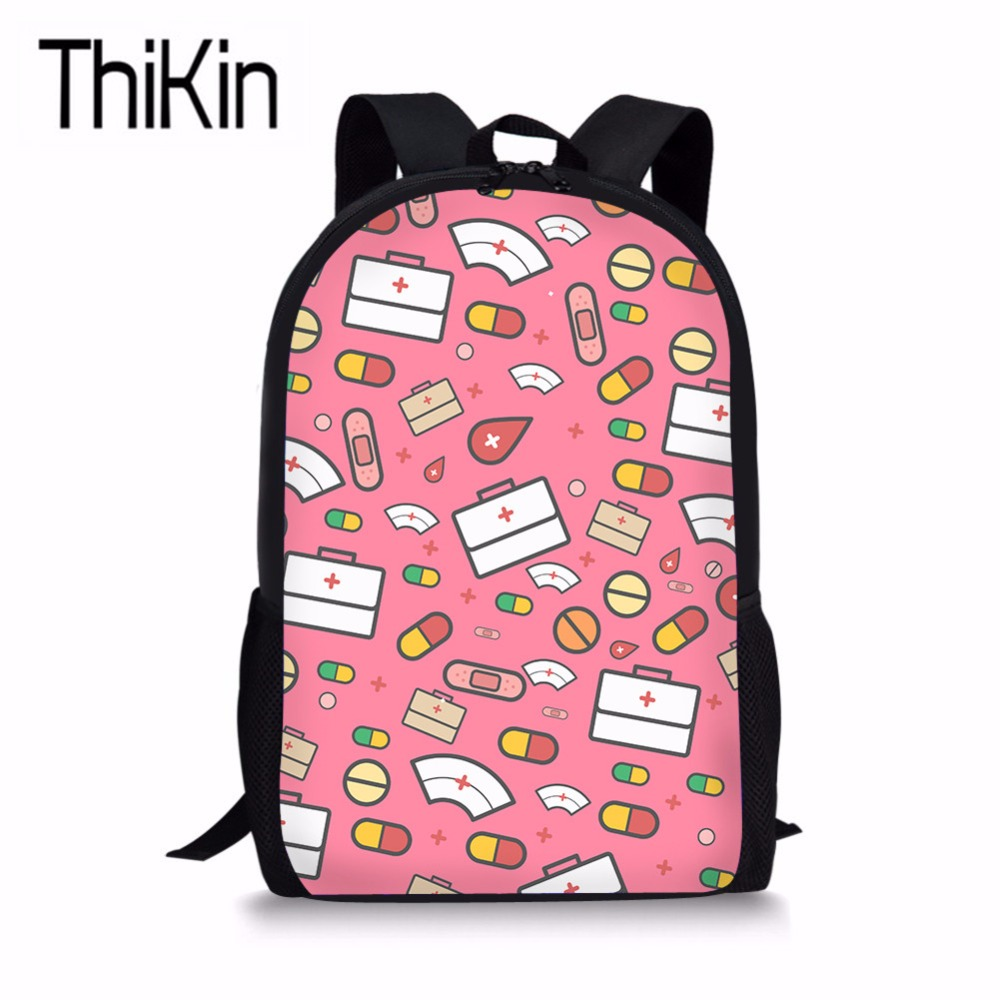THIKIN Children School Bags for Kids Girls Cartoon Nurse Printing Schoolbag Backpacks Teenagers Cute Shoulder Bags Girls Bookbag