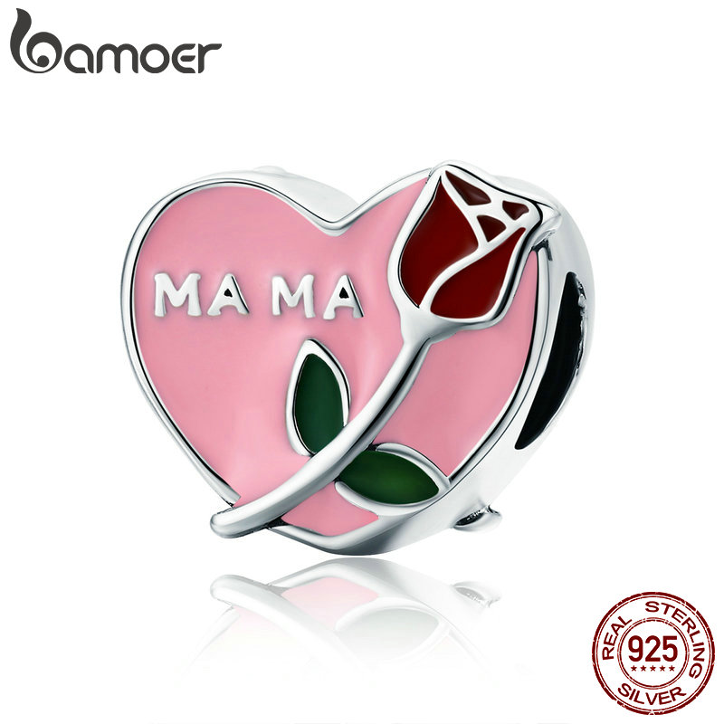 BAMOER Authentic 925 Sterling Silver Mama Mother in Heart Rose Flower Beads fit Charm Bracelet Necklace Jewelry Gift Mom SCC652