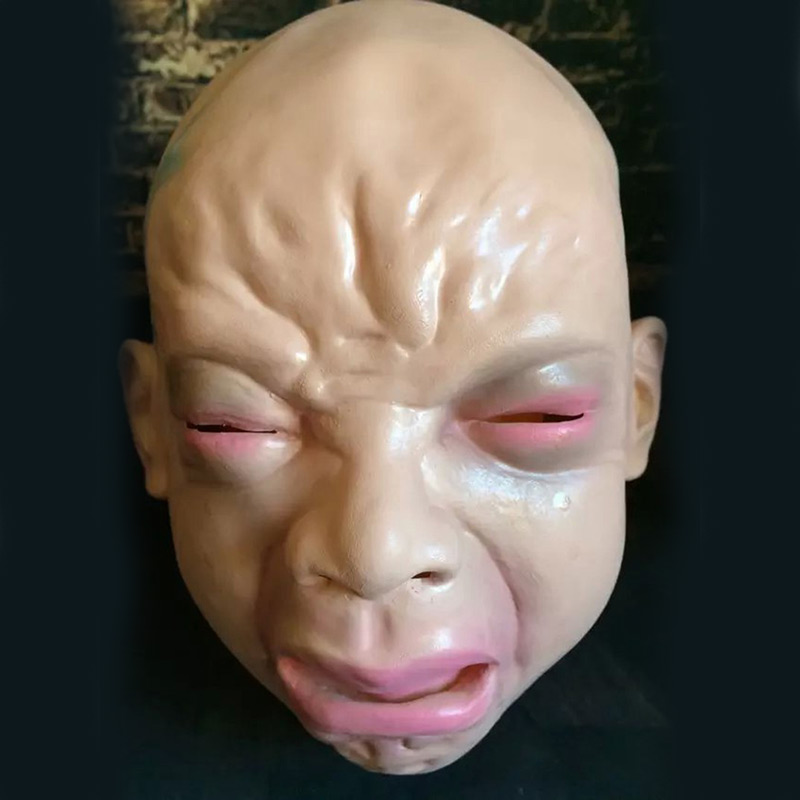 Hot Sale Halloween Crying Baby Face Scary Latex Mask Funny Toy Horror Creepy Cosplay Masquerade Party Evil Masks Adult Mask
