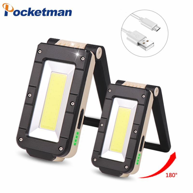 COB luz de Trabalho Portátil LEVOU Lanterna 6-Modo USB Recarregável Lâmpada LED Trabalho Light Lanterna Gancho de Suspensão Magnética Para camping