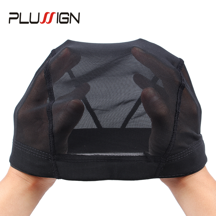 Plussign Black Mesh Dome Cap Wholesale 1PC Breathable Glueless Stretchable Spandex Hair Net Weave Cap For Making A Wig(China)