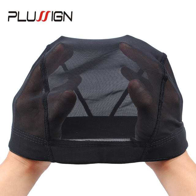 Plussign Black Mesh Dome Cap Wholesale 1PC Breathable Glueless Stretchable Spandex Hair Net Weave Cap For Making A Wig