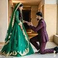 Wedding Dress Long Sleeve Vestidos De Noiva Estilo Princesa Green Ball Gown Muslim Wedding Dresses