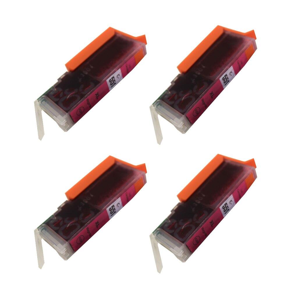 4PK CLI-551 Magenta Ink Cartrdiges для Canon iP7250 MG5650 MX925 iX6850 MG5550 MG5450 MG6650 MX920 MG5400 MG6450 MG7500 iP7200