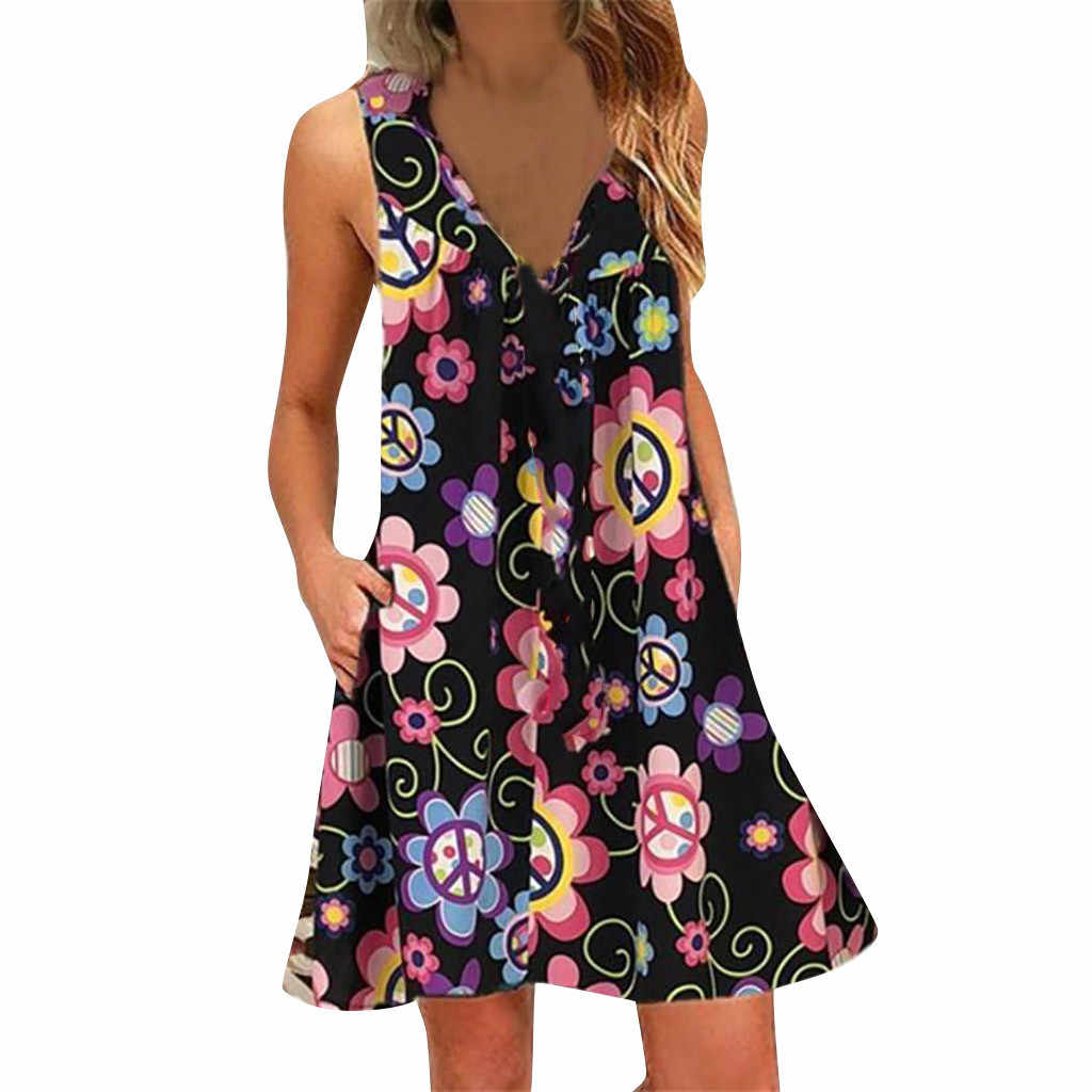 Women Floral Print Mini Dress Summer Party Sleeveless Dresses Plus Size Summer Women 2019 Print Dress Spring Summer Casual
