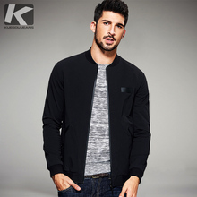 KUEGOU 2017 Spring Mens Casual Jackets And Coats Thin Black Color Brand Clothing For Man's Slim Fit Clothes Male Wear Tops 2067