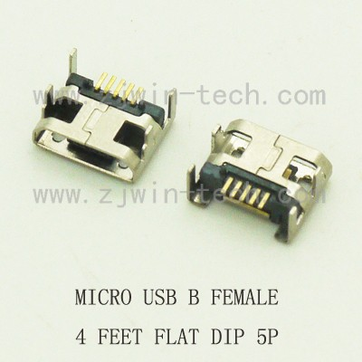 10pcs/lot Micro USB connector B type female jack 5Pin long ping 4FEET DIP FLAT MOUTH L=6.0 usb3 0 round type panel mounting usb connecter silver surface