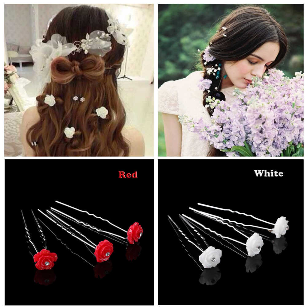 20PCs Bridal Wedding Crystal Rhinestone Rose Flower Hair Accessories Fashion Jewelry Hair Clip Pink White Red Bride Hair Pins