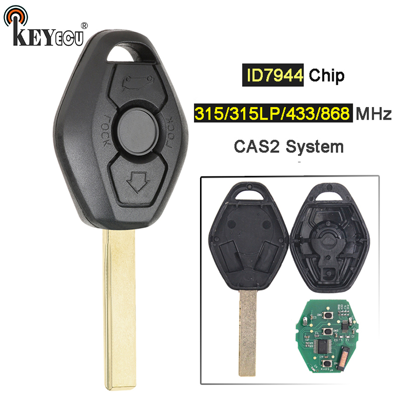 KEYECU 315/433/315LP/868MHz ID7944 Chip CAS2 System 3 buttons Remote <font><b>Key</b></font> for <font><b>BMW</b></font> <font><b>Key</b></font> 5 series E46 E60 <font><b>E83</b></font> E53 E36 E38 E39 HU92 image