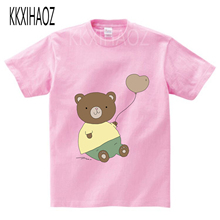 цена на Children Polar Bear print  Funny t-shirt kids Cartoon Bears Boys/Girls Top T shirt Summer baby animal print Clothes  NN
