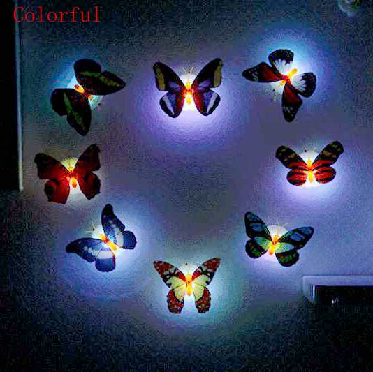 10pcs/lot Butterfly Night Light Color Light For Kitchen Bedroom Living Kid Room Easy Installation Home Decor Led Night Light New