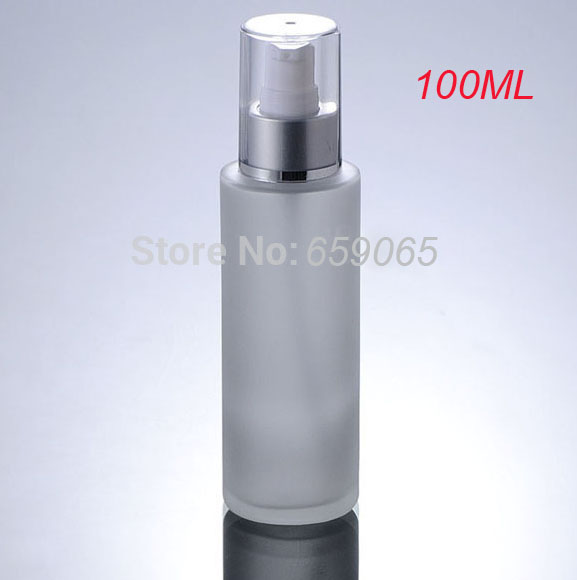 NEW 100ml frosted glass bottle with matt silver pump for serum lotion emulsion gel essence