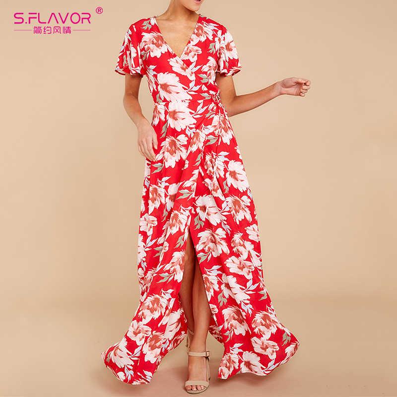 Женское платье с разрезом на боку S.FLAVOR, летнее длинное пляжное платье с коротким рукавом, богемное праздничное платье с прин