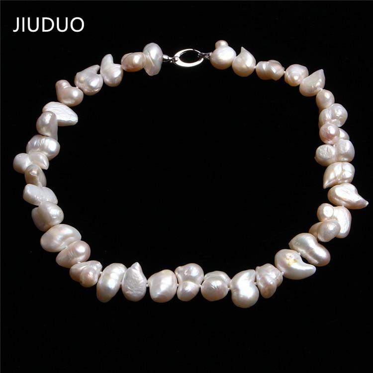JIUDUO Genuine White Freshwater Large Size Irregular Pearl Necklace Premium Quality Jewelry Gift Hot Sale