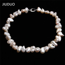 JIUDUO REAL PEARL Ellipse Brown Pearl 100% Genuine Real Freshwater Cultured Long Pearl Necklace Fashion for Nice Lady JD121