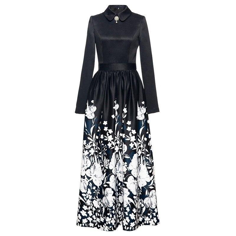 c5a2bd7f63c Плюс размеры длинное платье 2019 сезон  весна-лето модные вечерние Vestidos  для женщин Винтаж цветочный принт с длинным рукавом платье макси Vestido .