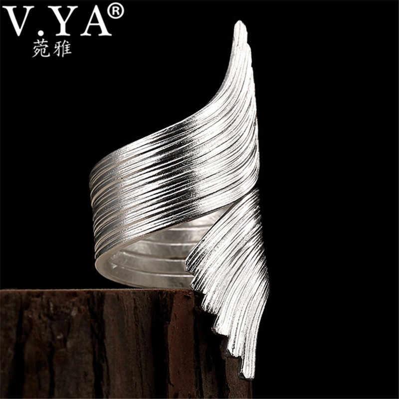 V.YA Hyperbole 925 แหวนเงินสเตอร์ลิงสำหรับสตรีขนาดใหญ่แหวนปรับ Handmade เครื่องประดับหญิง Bijoux