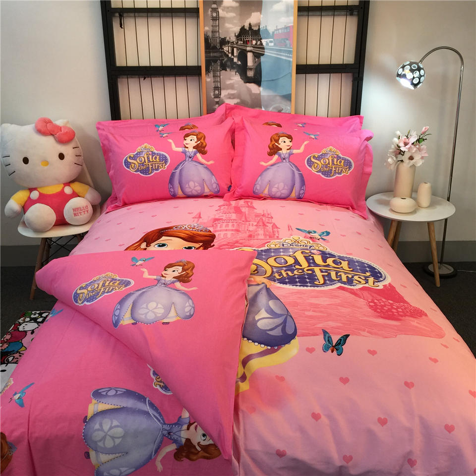 Pink Disney Sofia The First Printed Bedding Bedspreads Bed Sets Single Twin Full Queen King Size Baby S Kids Children In From Home
