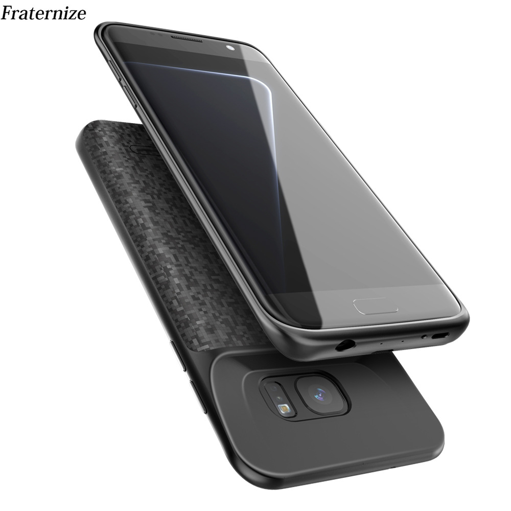 Caso Carregador de Bateria Para Samsung Galaxy S7 S7 Silm Silicone à prova de choque Caso banco de potência Para Samsung S7 Borda Carregador de Volta cobrir