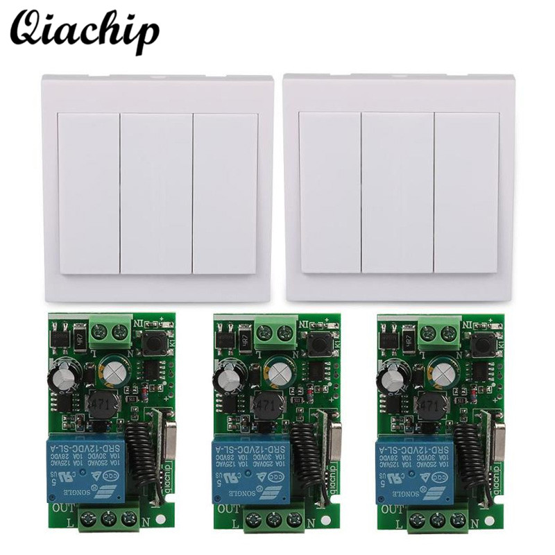 QIACHIP Wireless AC 110V 220V 433 Mhz 86 Wall Panel 3CH Button Remote Control Switch RF Receiver Module For Ceiling Lamp Light wireless pager system 433 92mhz wireless restaurant table buzzer with monitor and watch receiver 3 display 42 call button