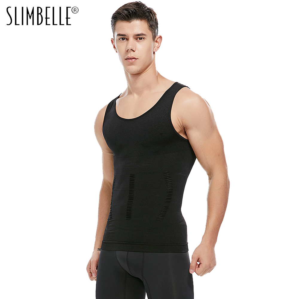 Mens Slimming Body Shaper Vest Shirt Abs Abdomen Slim Men Slimming Shirt Compression Vest Elastic Slim Shapewear(China)