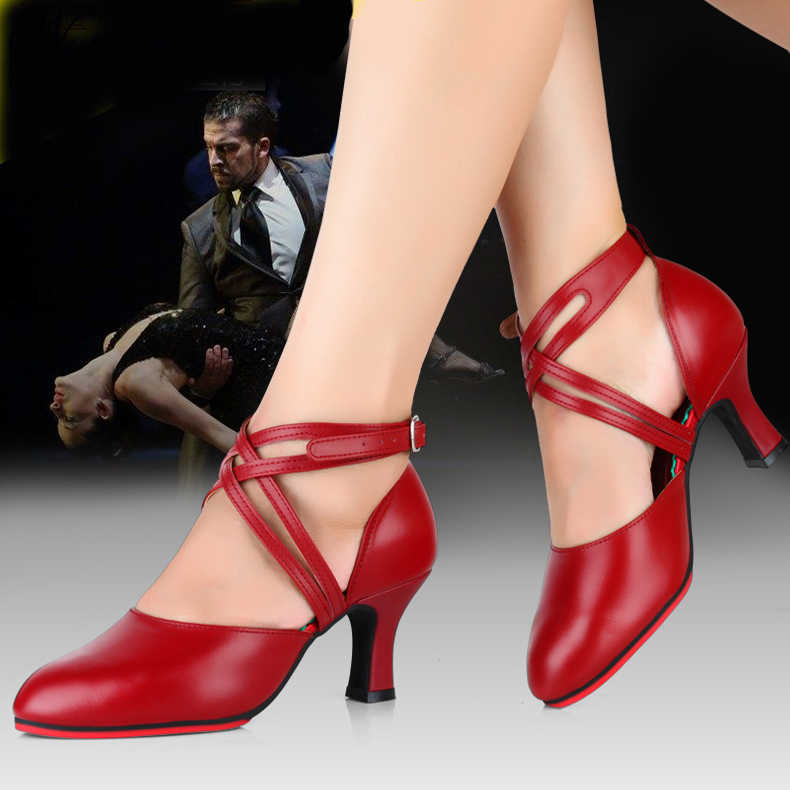 Professional Women Ballroom Latin Dance Shoes Leather Red Tango Shoe Ladies Closed Toe Salsa Shoes Female High Heels 8cm