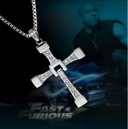100% High Quality The Fast and the Furious Celebrity Vin Diesel <font><b>Item</b></font> Crystal Jesus Cross Pendant Necklace for Men Gift Jewelry