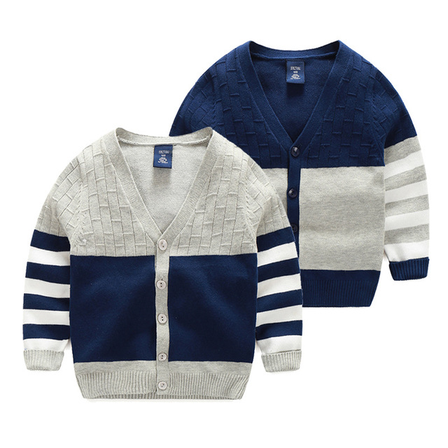 Kids Spring Autumn Sweater Boys Long Sleeve Patchwork Pull Fille Kids Clothes Baby Boys Cardigan Sweater Navy Blue and Grey