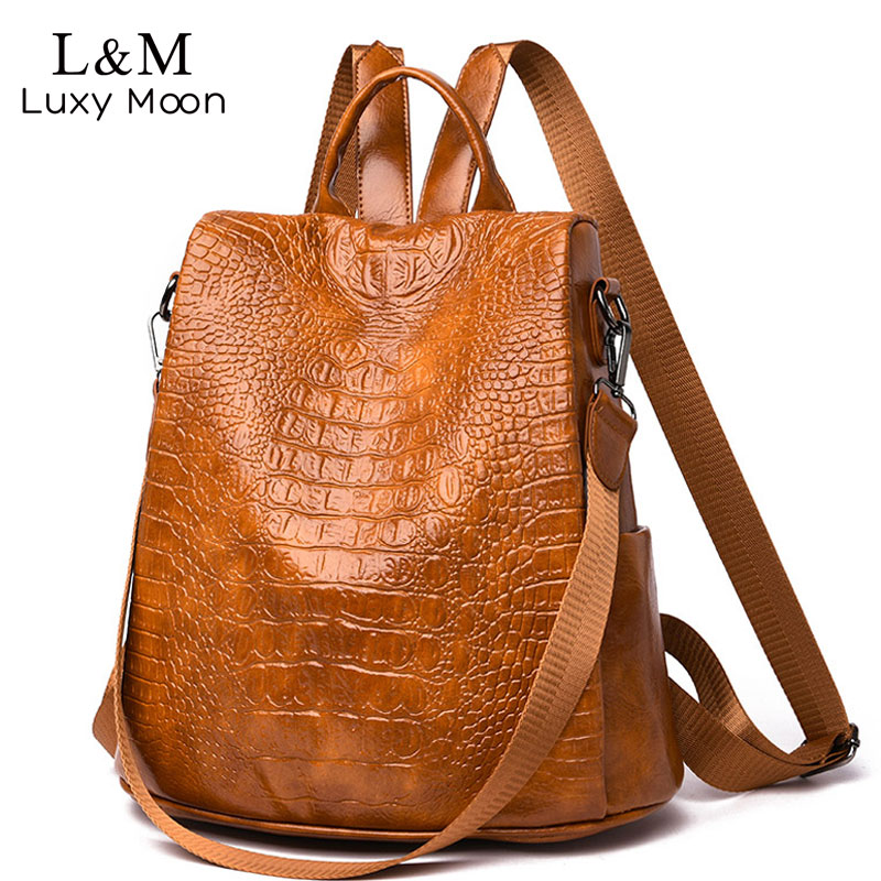 Leather Women Backpacks Crocodile Pattern Female Shoulder Bags Solid School Backpack For Teenage Girls Travel Back Pack XA317HLeather Women Backpacks Crocodile Pattern Female Shoulder Bags Solid School Backpack For Teenage Girls Travel Back Pack XA317H