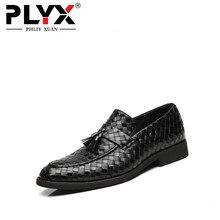 PHLIY XUAN  New 2019 Men Dress Shoes Plait Black Leather Footwear Wedding Oxfords