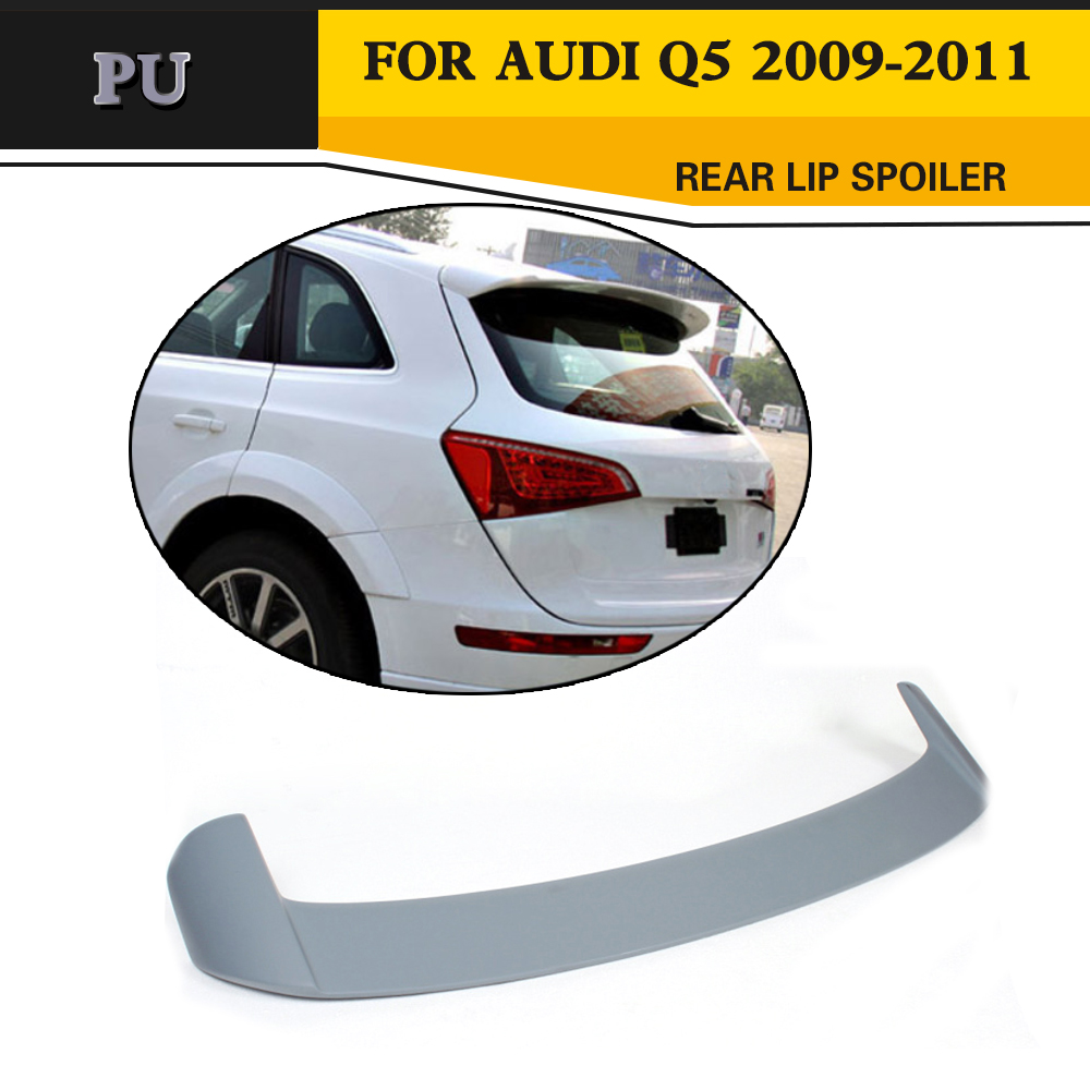 цена на Car styling PU Unpainted Grey Primer Auto Car Rear Wing Spoiler Boot Lips For Audi Q5 2009-2011