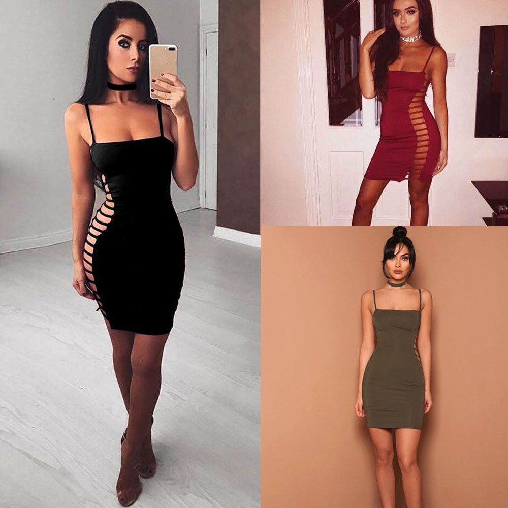 2017 Sweetheart Neckline High Quality Sexy Womens Choker Wrap Over Sleeveless Bandage Bodycon Party Dress