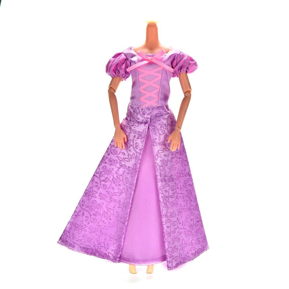1Set Purple Handmade Princess Dress Doll Clothing Summer Wedding Gown Dress For Tangled Dolls